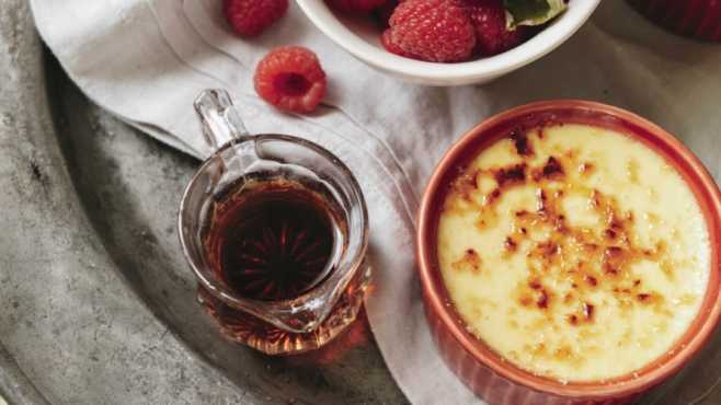 creme brûlée from the Maple Syrup Cookbook by Ken Haedrich